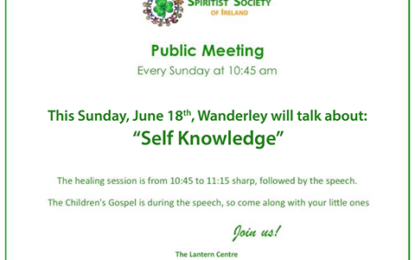 "Public Meeting ""Self Knowedge"", Spiritist Society of Ireland-UK"